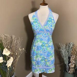 Lilly Pulitzer Blue Floral Halter Dress